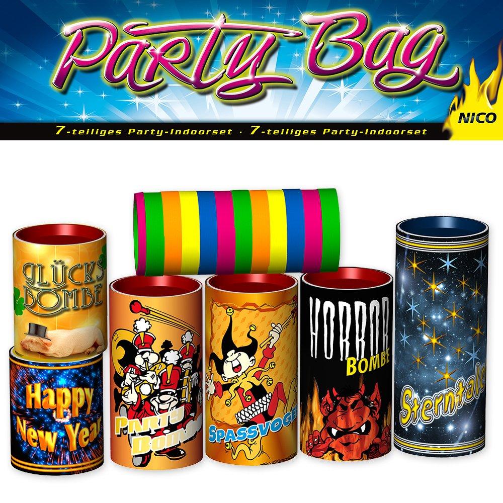 Silvester Tischfeuerwerk Set 7-tlg.: Tischbomben & Luftschlangen - Partyknaller Feuerwerk Party Bag Nico