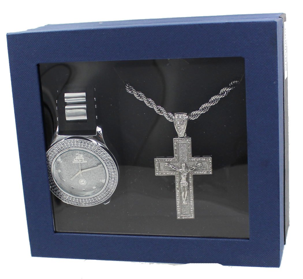 Techno Pave Fashion Jewelry GIFT Set:Silver Tone Watch +Silver Tone Necklace+ Silver Tone Pendant