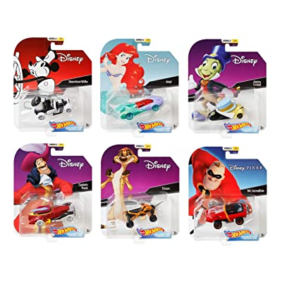 Hot Wheels Set of 6 Disney/Pixar Character Cars, Series 6, 1/64 Collectible Die Cast Toy Cars, with Steamboat Willie, Ariel, Jiminy Cricket, Captain Hook, Timon and Mr. Incredible: Toys & Games