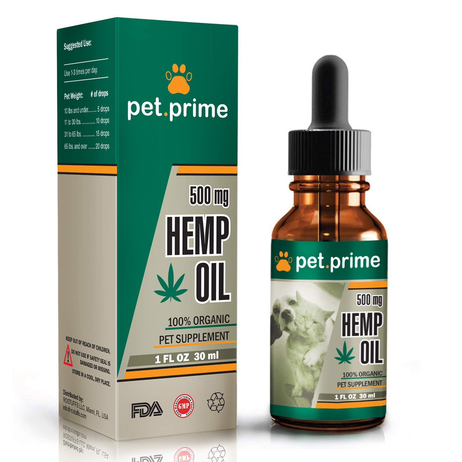Pet.prime Hemp Seeds Oil for Dogs Cats & Pets — 500 mg (30ml) — 100% Organic Vegan/Food Supplement—Calming Treats —Rescue Remedy — Relieves Pain & Separation Anxiety W/Omega 3, 6 & 9 Fatty Acids