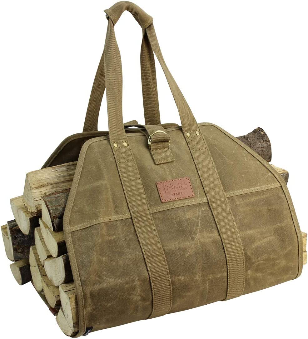 Large Canvas Log Carrier Tote Bag Indoor Firewood Carry Wood Holders Round Rack