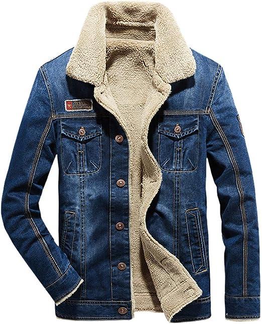 Mens Sherpa Jacket Winter Warm Denim Coat Fleece Lined Casual Long Sleeve Turn-Down Collar Cowboy Coat Outerwear Parka