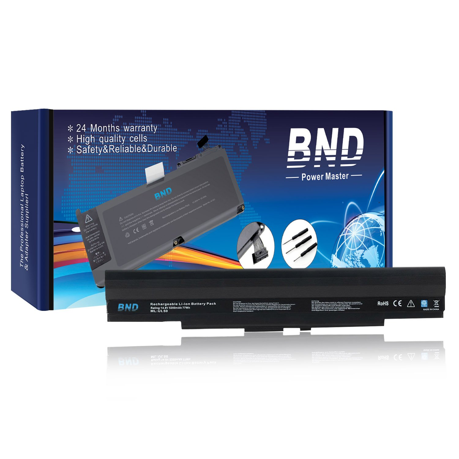 BND 5200mAh Battery [with Samsung Cells] for Asus UL80JT UL30A UL30V U30JC UL50 UL50V UL80 UL80V UL80VL UL80J, fits P/N A42-UL50 A42-UL30 - 24 Months Warranty [8-Cell, Li-ion]