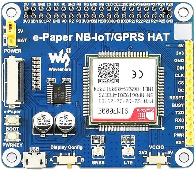 Waveshare E-Paper IoT Driver HAT for Raspberry Pi Supports NB-IoT//eMTC//GPRS Onboard SIM7000E Module Controlled via UART Compatible with Various SPI e-Paper Raw Panels