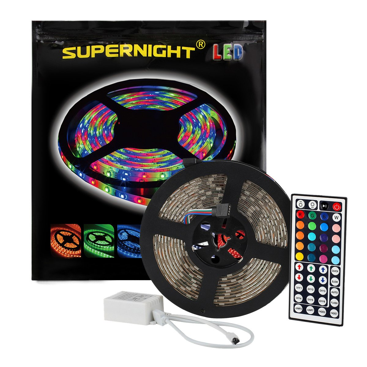 SUPERNIGHT (TM) 16.4FT SMD 5050 Waterproof 300LEDs RGB Flexible LED Strip Light Lamp Kit + 44Key IR Remote Controller(Power supply is not included) by SUPERNIGHT