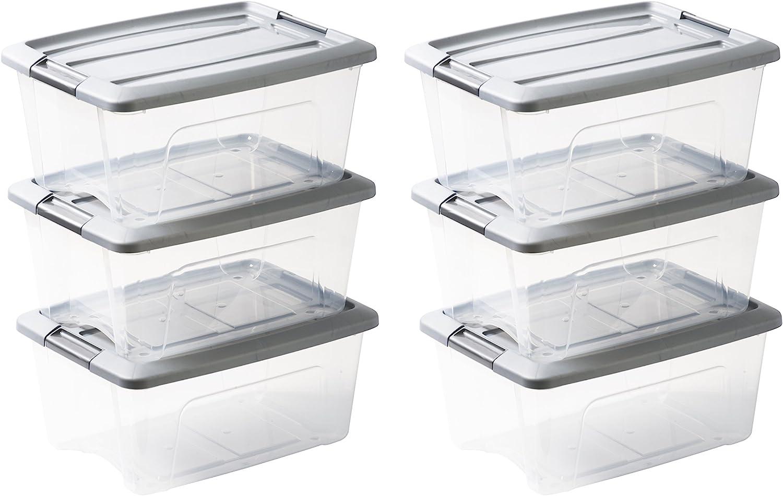 Iris Ohyama NTB-15 X6 Silver - lote de 6 cajas apilables de almacenamiento, Transparente/ Gris, 15 L