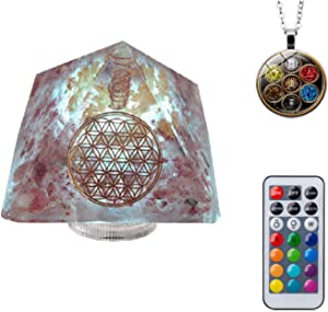 98% Gold Foil Orgone Pyramid Night Light with Natural Strawberry Crystal,Led Lights with13 Colors Led & 4 Light Changing Modes & Remote Control1Remote Control(3.7×3.7×2.7inch) (Pink)