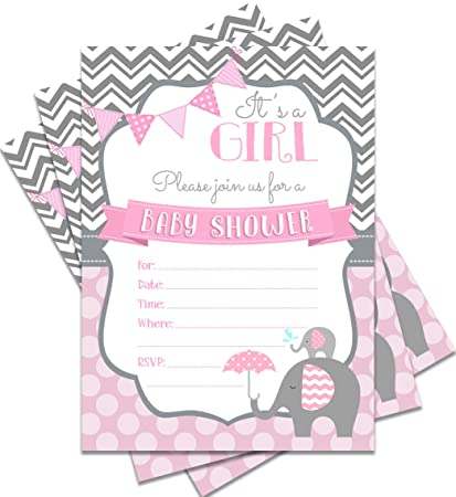 amazon com 25 pink baby shower invitations it s a girl 5x7