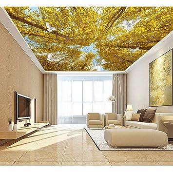 BIZHIGE Gelbe Bäume Taube Wandbild 3D Decke Tapeten Wandbilder ...