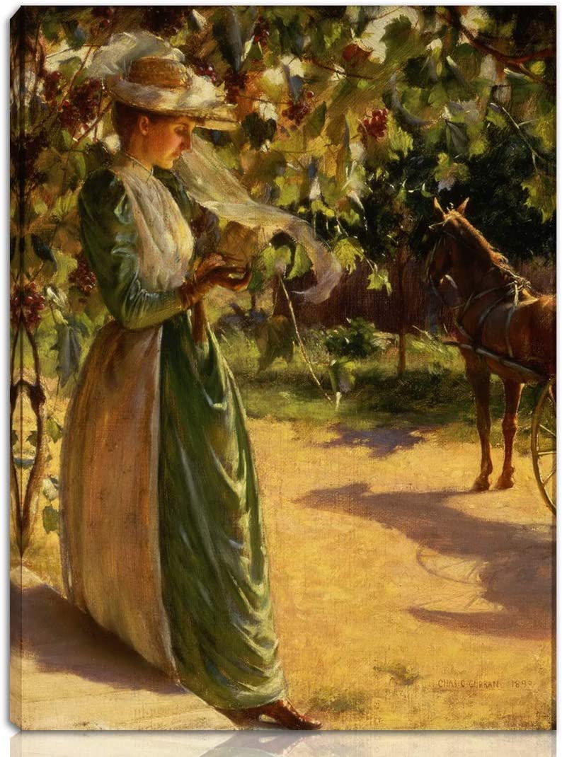 Berkin Arts Charles Courtney Curran Stretched Giclee Print On Canvas-Famous Paintings Fine Art Poster-Reproduction Wall Decor Ready to Hang(Going for A Drive Woman with A Horse and Carriage)#NK