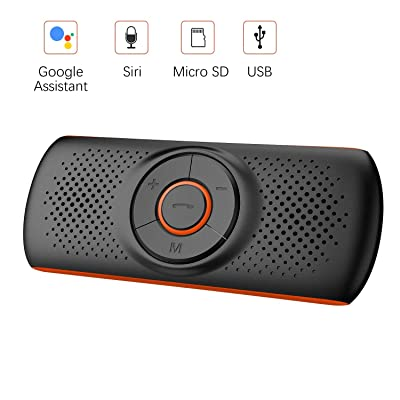 Bluetooth Handsfree Car Speaker, Upgraded Wireless in-Car Speakerphone Visor Clip Stereo Music Player Car Kit for Handsfree Talking and GPS Broadcast, TF Card Play/Siri/Google Assistant Supported: Electronics