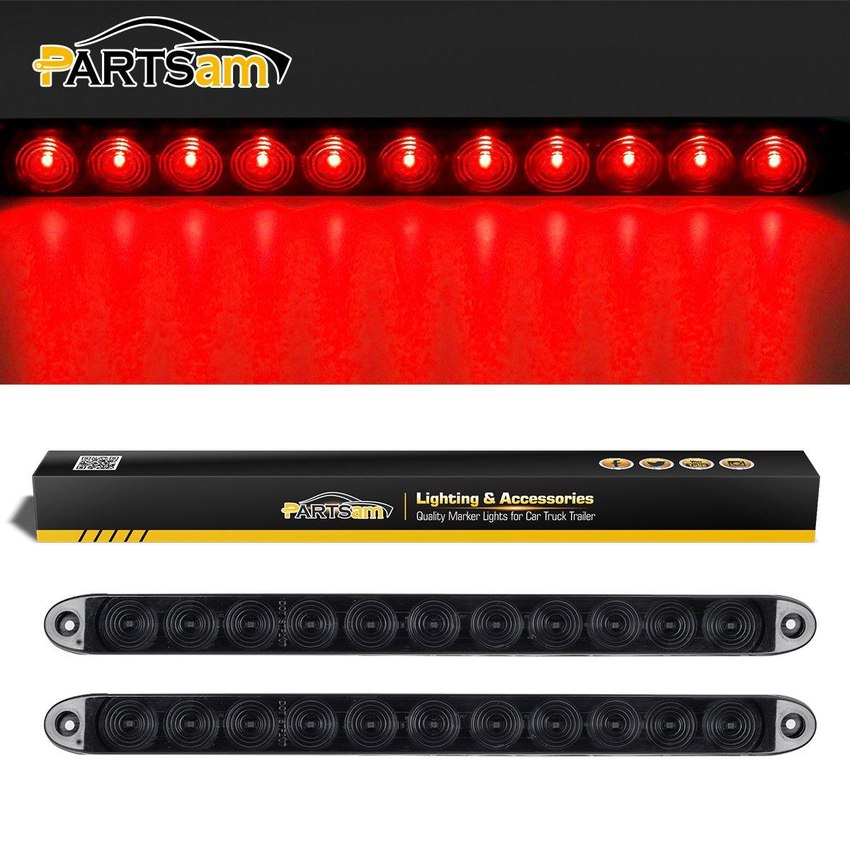 Partsam 2X 15 Smoke Lens Red 11 LED Car Trailer Truck Stop Turn Tail Brake Light ID Bar Waterproof