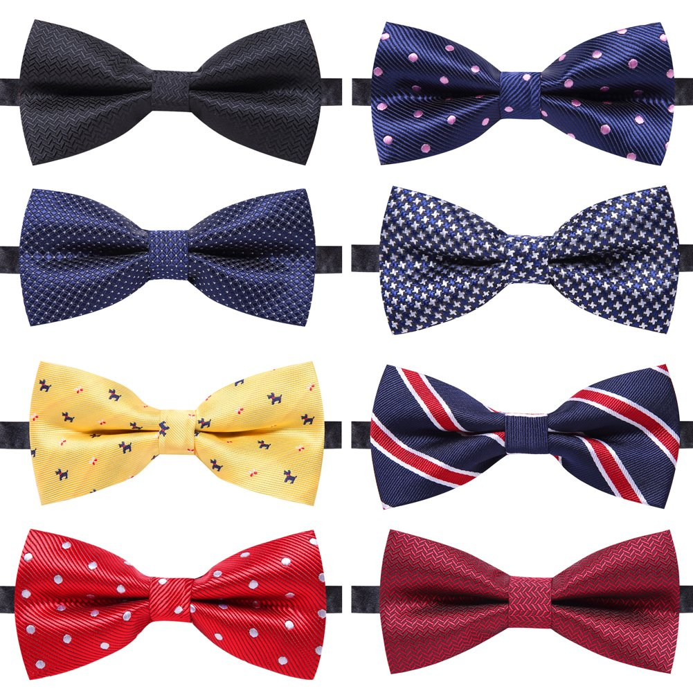 4ff882b9d3db AUSKY 8 PACKS Elegant Adjustable Pre-tied bow ties for Men Boys in  Different Colors