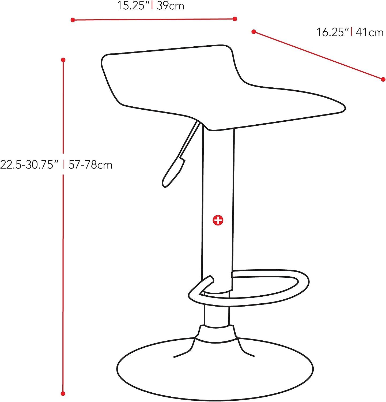 CorLiving B-812-VPD Curved Adjustable Bar Stool White Leatherette Set of 2