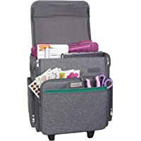 Everything Mary Collapsible Rolling Craft Bag, Heather - Tote with Wheels for Scrapbook & Art Storage - Organizer Case…