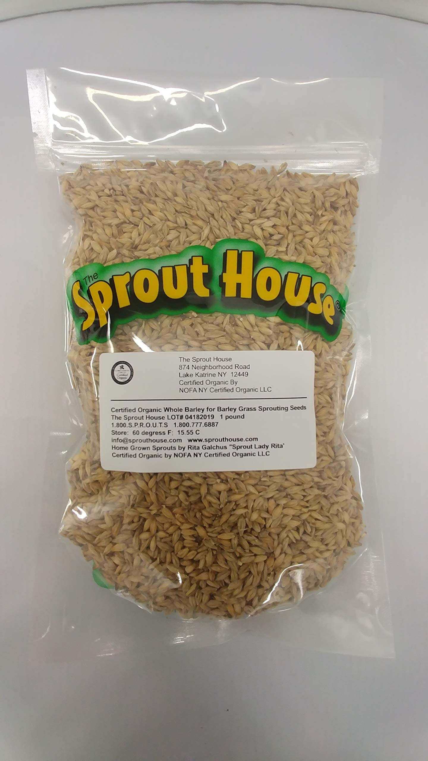 The Sprout House Certified Organic Non-gmo Whole Barley for Barley Grass 1 Pound