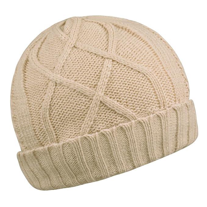 3bed838837b Elastic Beanie Warm Knit Cap Winter Cuff Skull Caps for Men and Women(Beige)