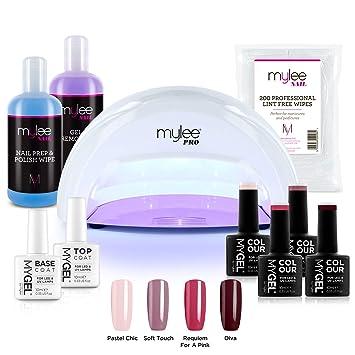 Complete Convex Nail Polish Mygel Gel Series Base Lamp ColoursTopamp; Professional LampPrep Curing® Salon Mylee Led CoatPro Kit4x BxsCthQrd