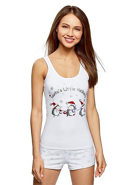 oodji Ultra Mujer Pijama de Algodón con Estampado Navideño, Blanco, ES 36 / XS