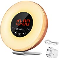Sunrise Alarm Clock COULAX Wood Wake Up Light Sunlight Sunset Simulation with 6 Nature Sounds Snooze Function, FM Radio, 10 Brightness Levels, 7 Colors Led Light For Bedside and Kids