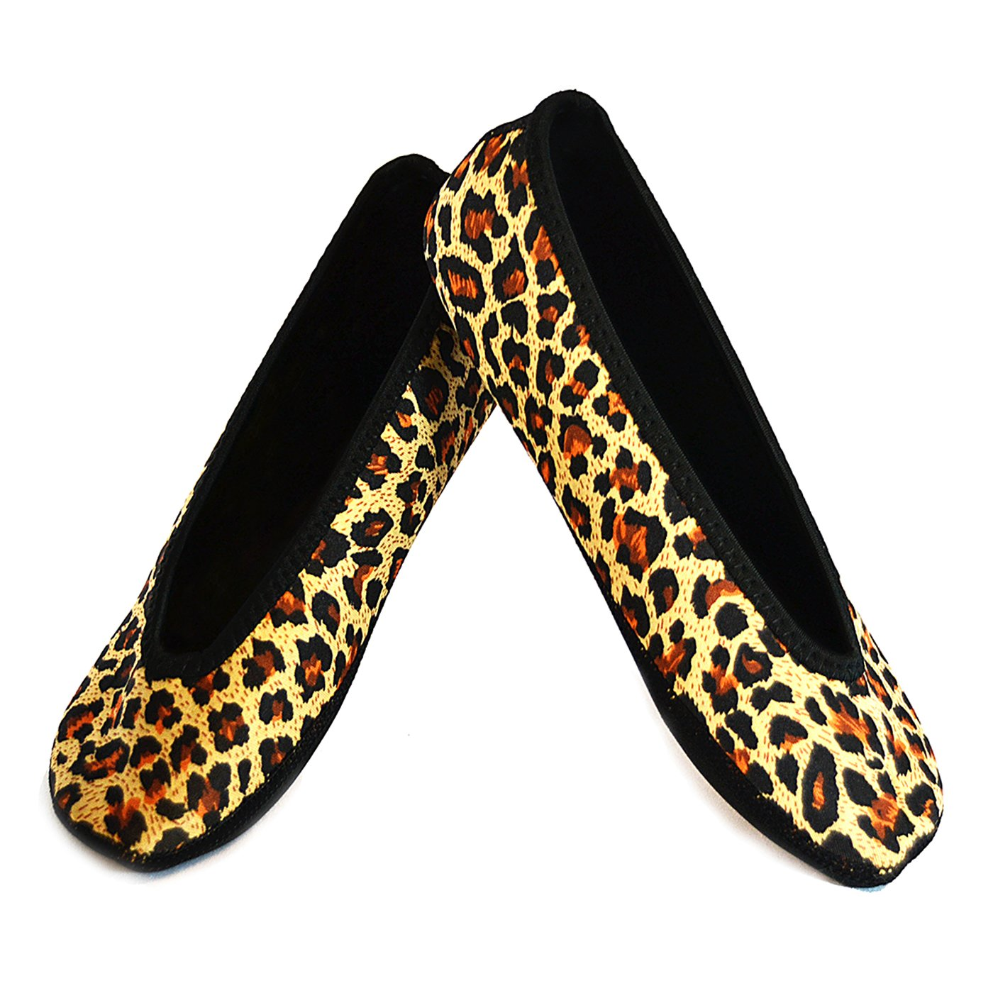 NuFoot Women's Shoes Ballet Flats Best Foldable & Flexible Travel & Exercise Slippers, Dance Shoes, Yoga Socks, Indoor Shoes, Leopard Print, Large