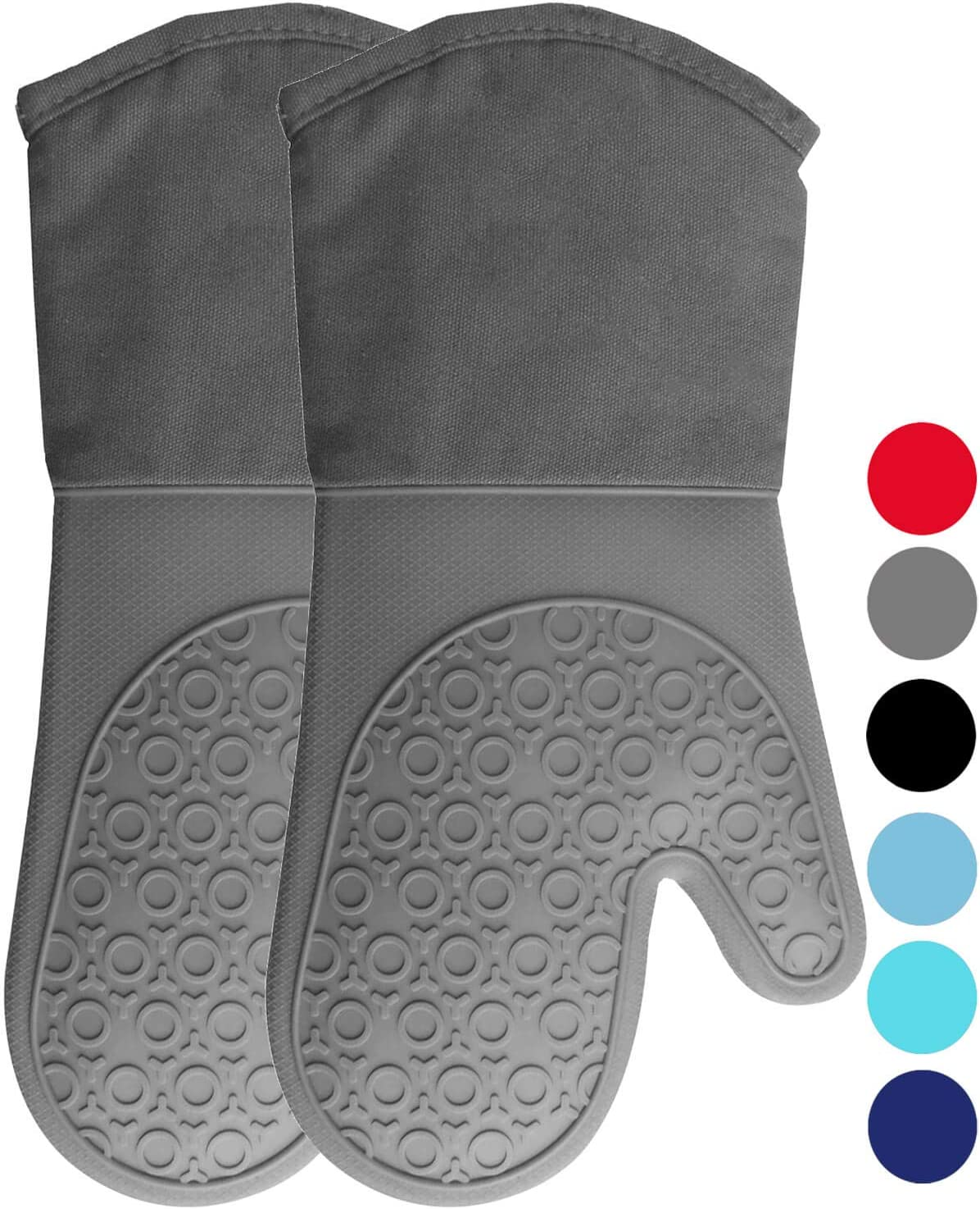 HOMWE Extra Long Professional Silicone Oven Mitt, Oven Mitts with Quilted Liner, Heat Resistant Pot Holders, Flexible Oven Gloves, Gray, 1 Pair, 13.7 Inch: Home & Kitchen