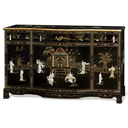 ChinaFurnitureOnline Black Lacquer Sideboard, Hand Painted Courtyard Scene  With Mother Pearl Courtesans Inlay Cabinet In