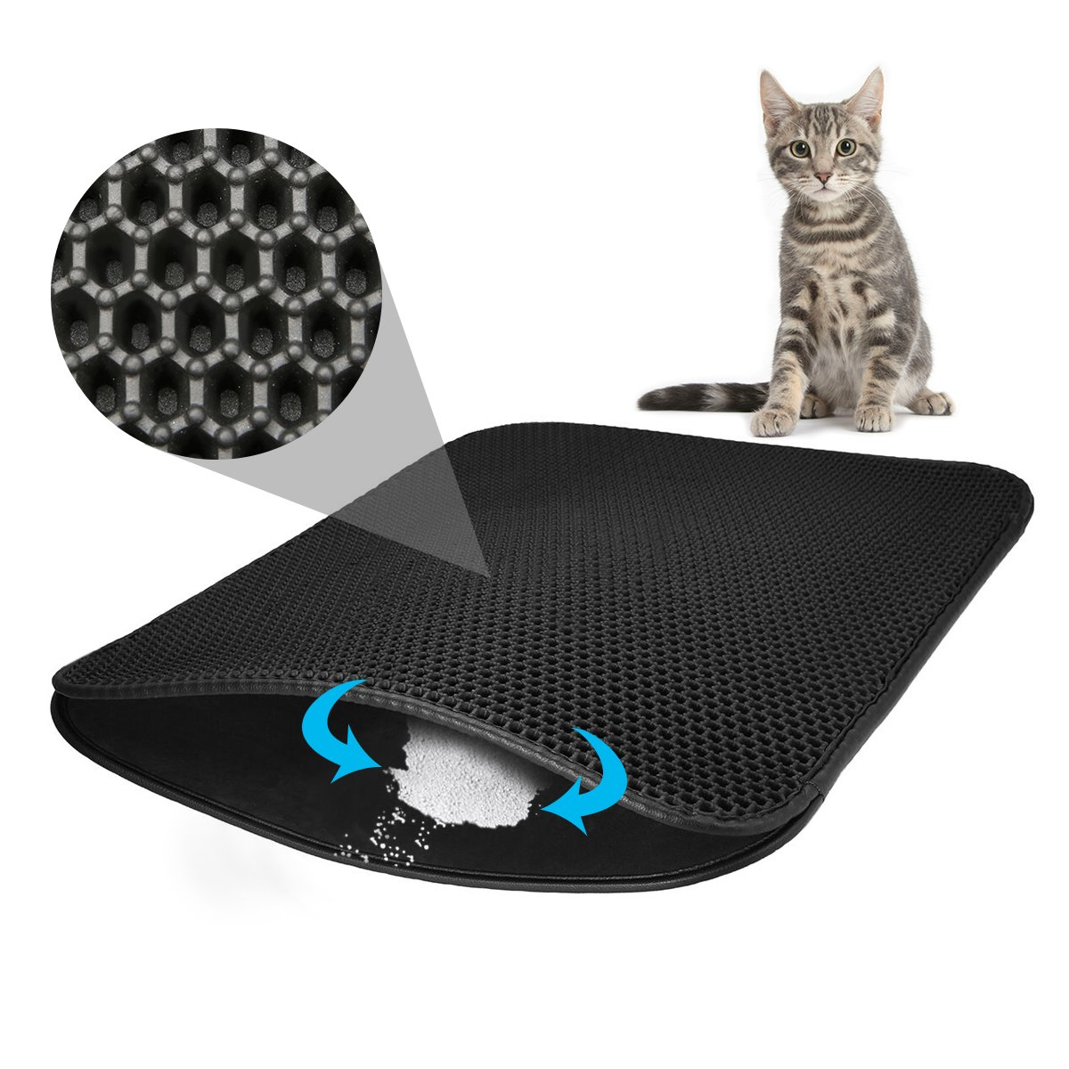 FOCUSPET Cat Litter Mat Cat Litter Trapper,Large Size 30'' X 22'',Double Waterproof Layer Honeycomb Design,Best Scatter Control,Traps Litter Pan from Box and Paws