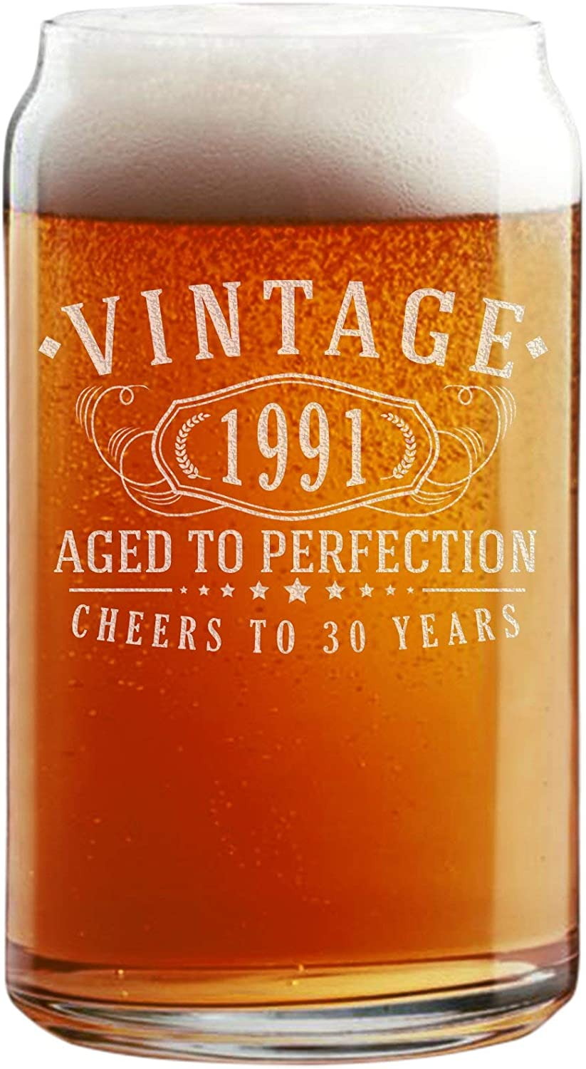 1991 Birthday Beer Glass for Sons 30th Birthday Gift for 30 Year Old 30th Birthday Gift for Men Pint Glass for Beer Lover