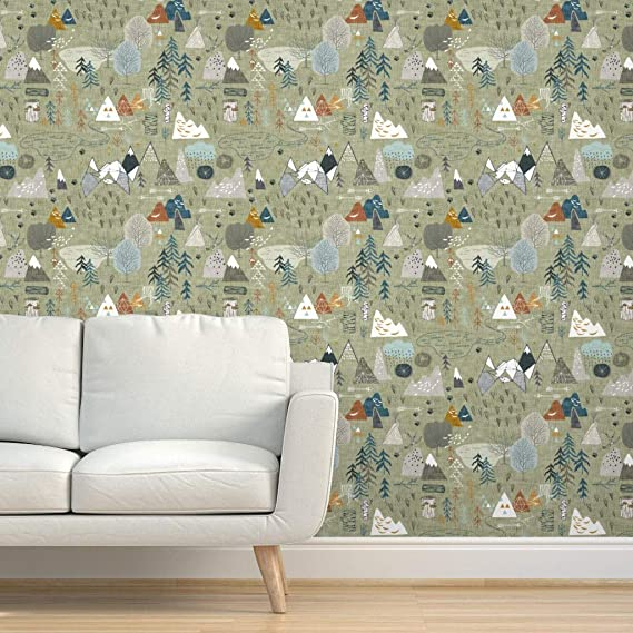 Peel-and-Stick Removable Wallpaper Map Rustic Adventure Mountain Woodland Trees