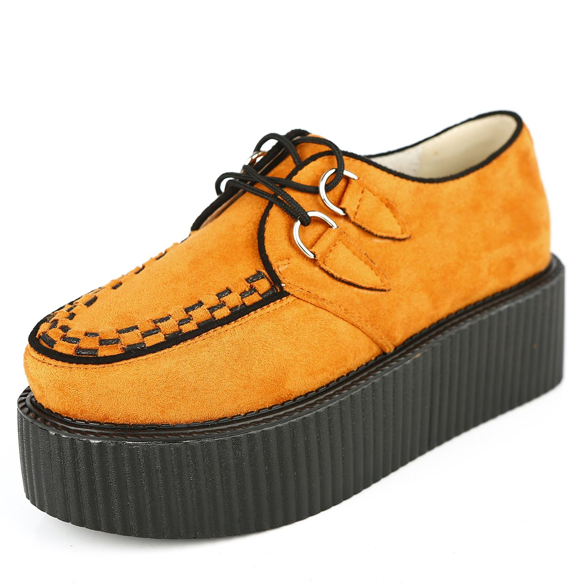 RoseG Femmes Lacets Plate Forme Gothique Lacets Punk Punk Creepers Casual B07CM4QY3V Chaussures Orange dfde708 - piero.space