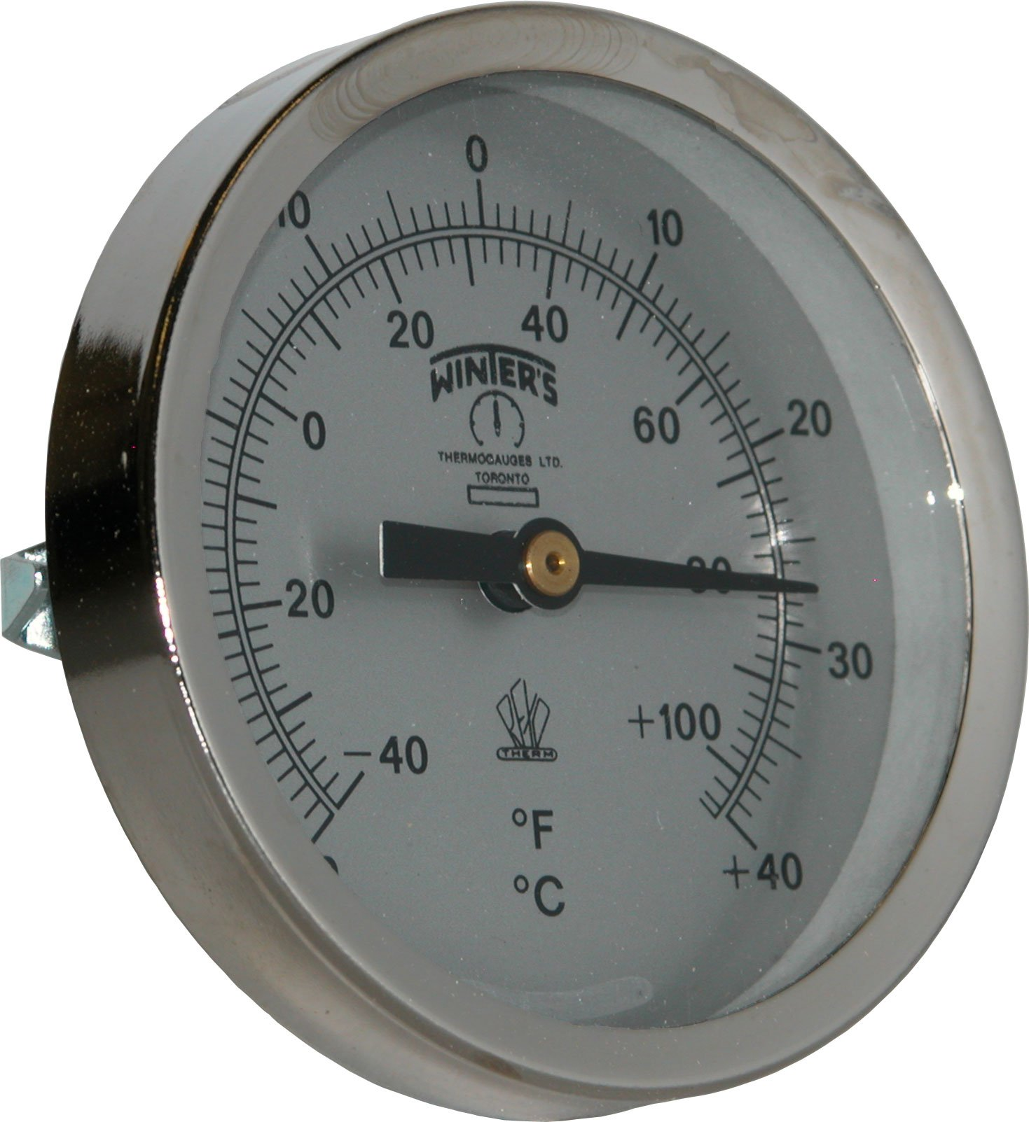 Winters TCT Series Dual Scale Mild Steel Clamp-On Thermometer, 2-1/2'' Dial, -40-110 F/C Range