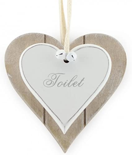 Shabby Chic Rustic Double White Heart Toilet Hanging Sign//Plaque 12x12cm by Lesser /& Pavey