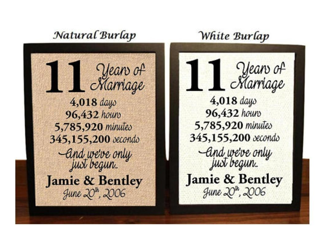1 Year Wedding Anniversary Gifts For Her.11 Year Anniversary Burlap Print 11th Anniversary 11th Anniversary Gift 11 Years Together 11th Wedding Anniversary 11th Anniversary Gift For
