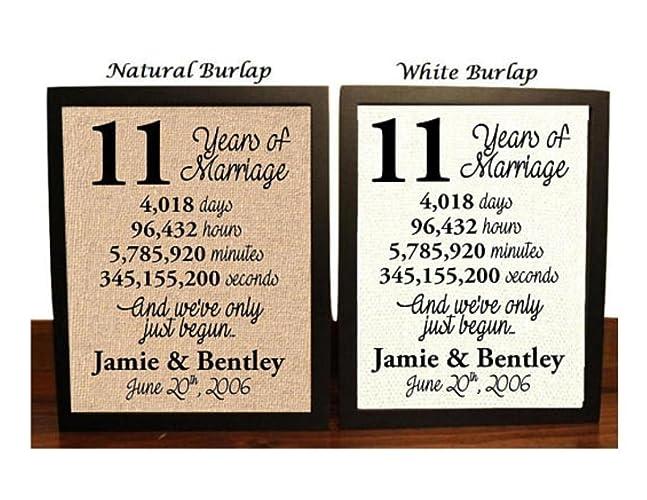 11 Year Anniversary Burlap Print | 11th Anniversary | 11th Anniversary Gift | 11 Years Together | 11th wedding Anniversary | 11th Anniversary gift for her ...