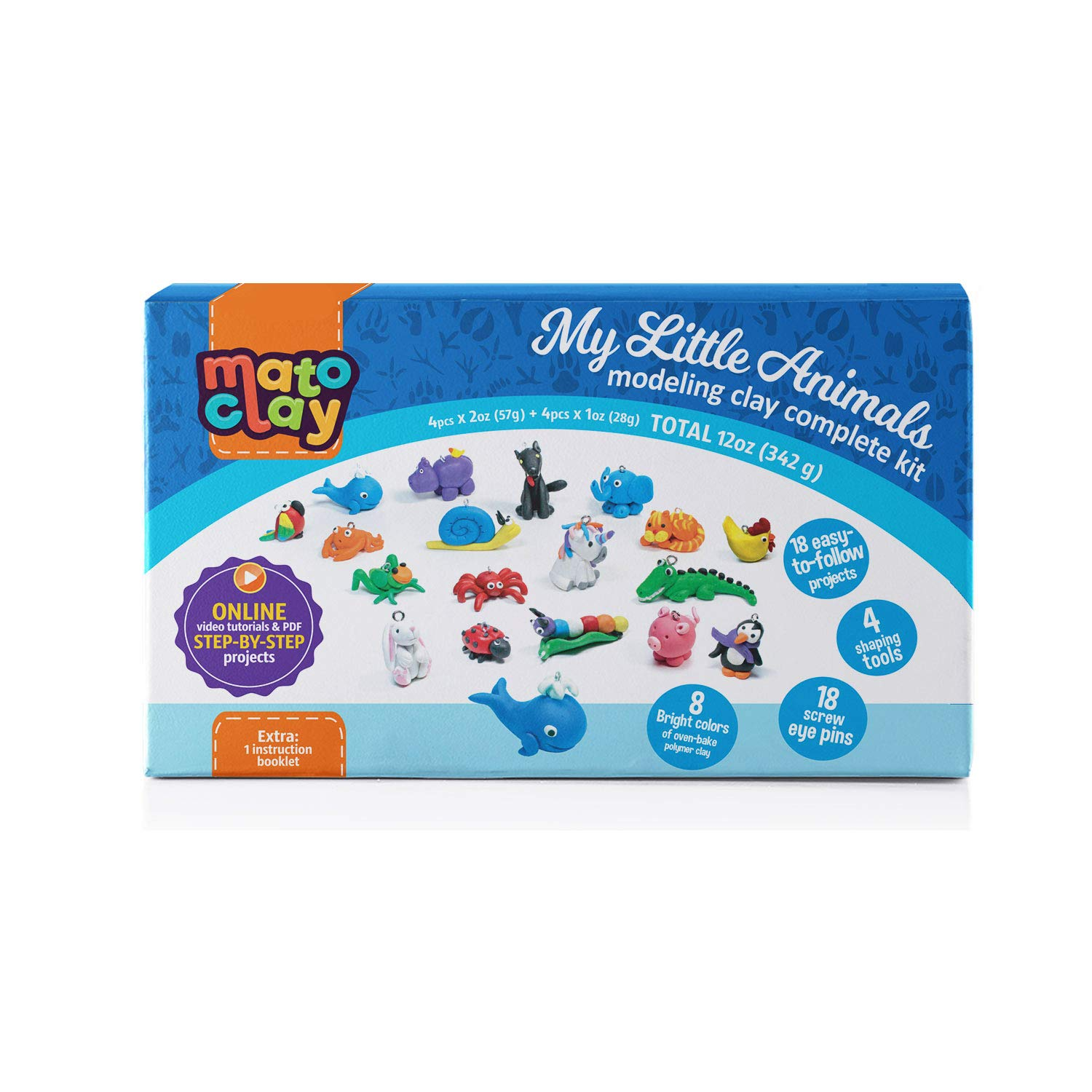 MatoClay Polymer Clay Kit for Kids with Step-by-Step Tutorials - Oven Bake Modeling Clay Charms Set | 18 Clear Photo & Video Tutorials, 8 Blocks, 3 Tools, 18 Screw Eye Pins, 1 Instruction Booklet