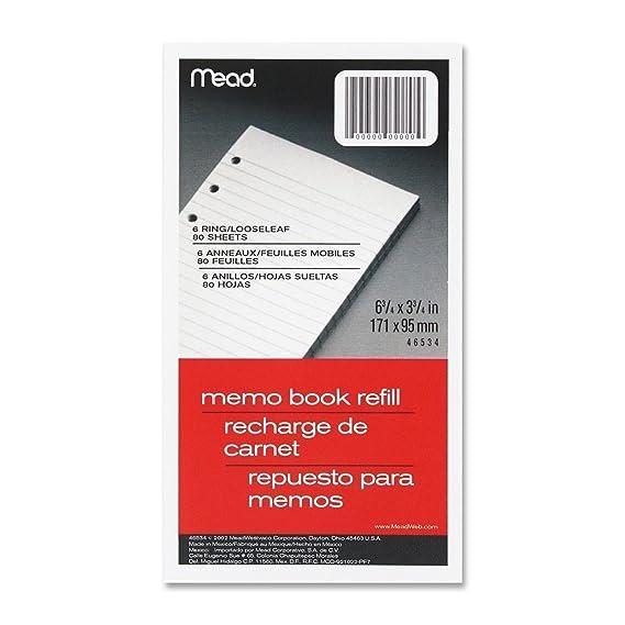 Mead Memo Book Refill, 6 Ring, 3 3/4