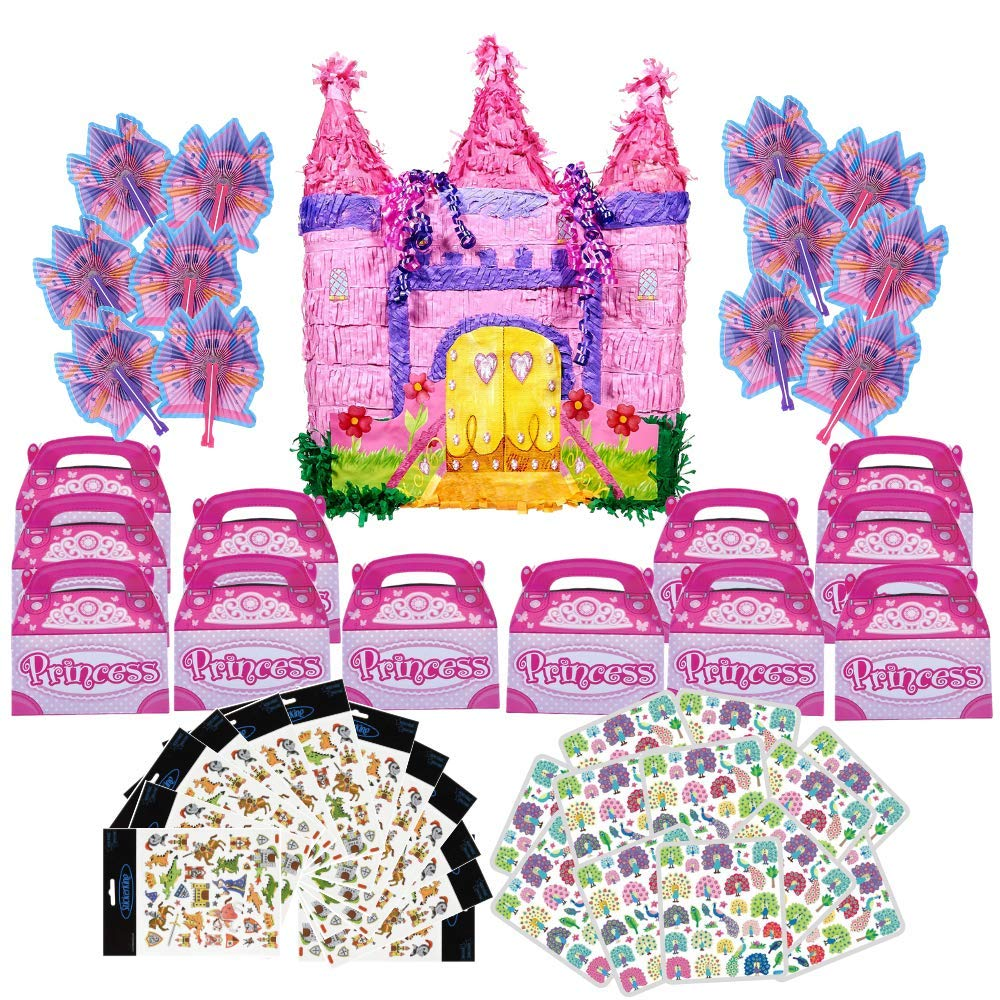 Castle Pinata and Princess Party Supplies for 12: folding fans for kids, pink favor boxes, stickers