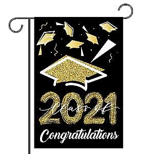 Congrats Grad 2021 Garden Flag, 12.5x18 Inch Double Sided Congratulations Graduation House Flag, School Senior College Graduations with Cap, Celebrate Decor for Yard Outdoor Home, Graduation Decoration