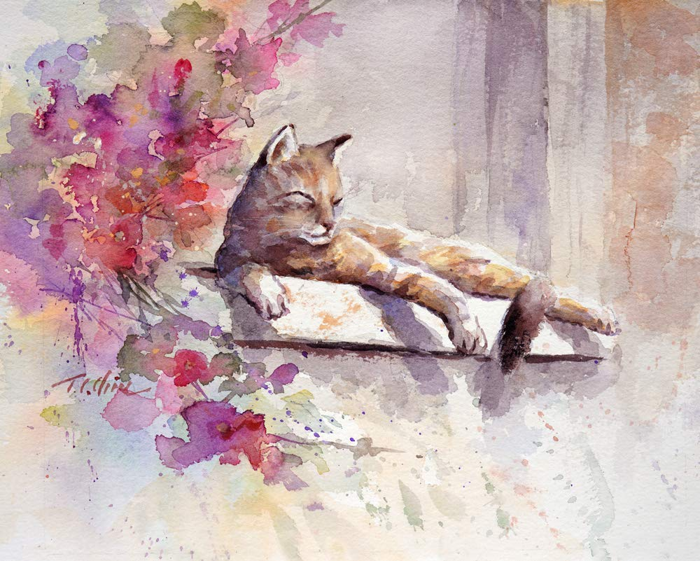 Amazon Com Cat Sunny Day Art Print Of Watercolor Painting Gift For Cat Lovers Handmade