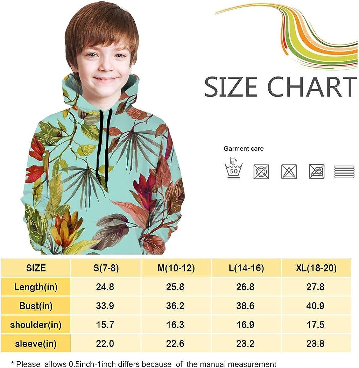 Youth 3D Print Art Palm Leaves Hooded Sweatshirt Kids