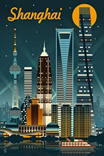product image for Shanghai, China - Retro Skyline 56709 (24x36 Signed Print Master Art Print - Wall Decor Poster)