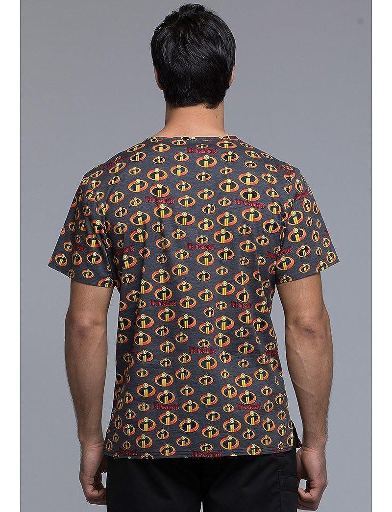 41158ab0f58 Amazon.com: Cherokee Tooniforms Men's V-Neck The Incredibles Print Scrub Top  X-Large Print: Clothing