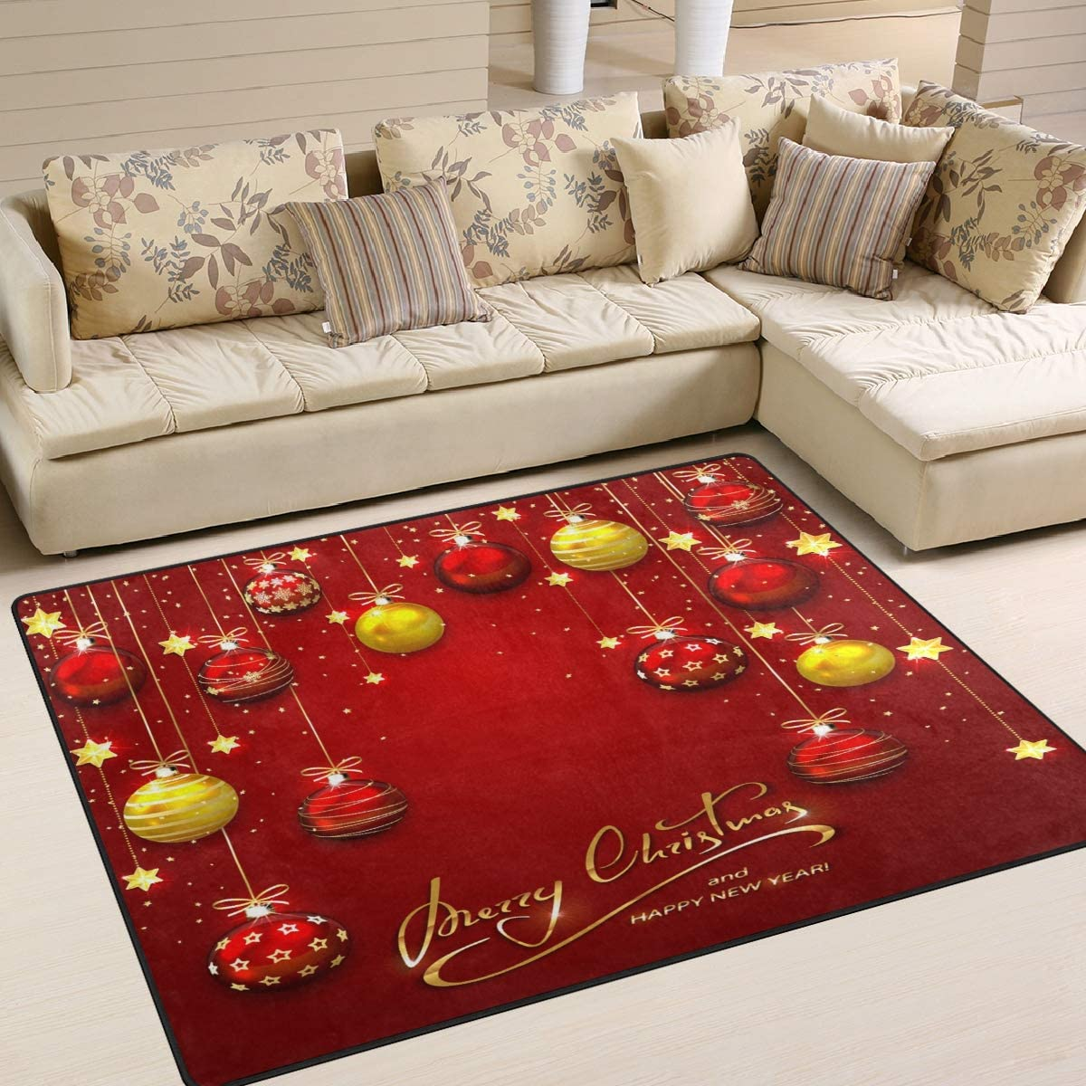 ALAZA Merry Christmas Balls and Golden Stars Area Rug Rugs for Living Room Bedroom 7 x 5