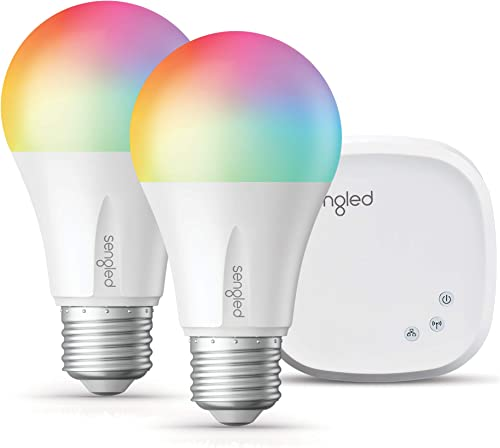 Sengled Smart LED Multicolor A19 Starter Kit, 60W Equivalent, 2 Smart Light Bulbs Hub, RGBW Color and Tunable White 2000-6500K, Works with Alexa Google Assistant