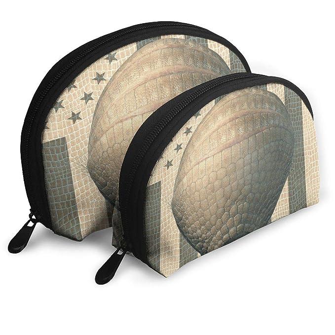 681f12aeb2 Amazon.com  Pangolin And American Flag Cosmetic Bag - 2 Piece Set Makeup  Travel Pencil Pen Case Storage Portable  Clothing
