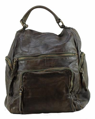 BOZANA-BERLIN - Bolso mochila de Piel para mujer verde verde Large: Amazon.es: Zapatos y complementos