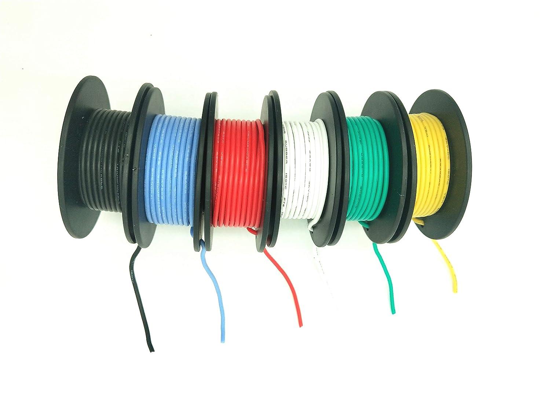 22AWG Happyroom kit de fils color/és Fil de silicone flexible de 22 AWG Caoutchouc Silicone Fil de Cable R/ésistance /à hautes temp/ératures de fil isol/é 3000V Fil d/électronique de calibre