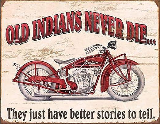 Antique Look Indian Motorcycle Tin Metal Sign Decor Bike NEW