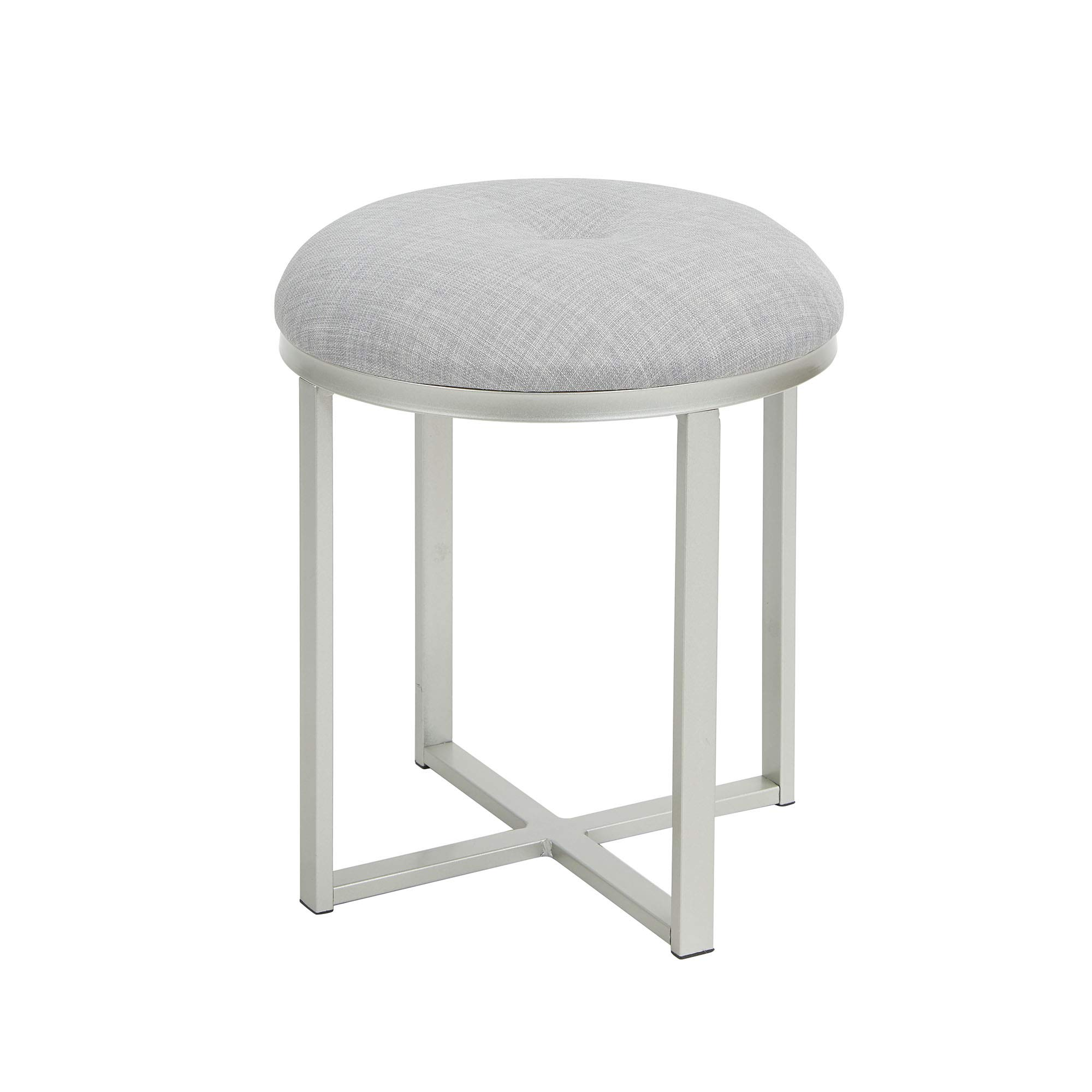 Silverwood Vanity Bench, Gray Linen and Silver Metal by Silverwood